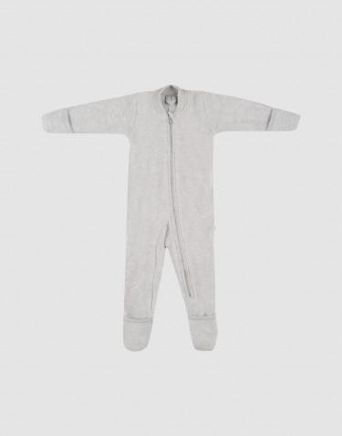 Baby merino wool fleece pramsuit without hood- Light Grey