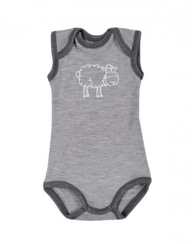 Baby sleeveless merino wool bodysuit- grey melange