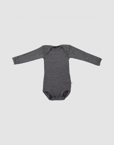 Baby long sleeve organic merino wool bodysuit- grey melange
