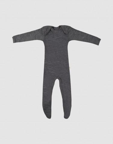 Baby merino wool sleepsuit- grey melange