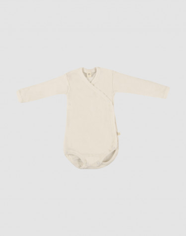Baby merino wool wrap bodysuit- nature