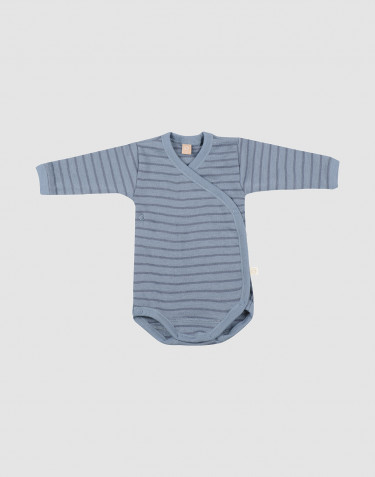Baby merino wool wrap bodysuit-Blue Stripe