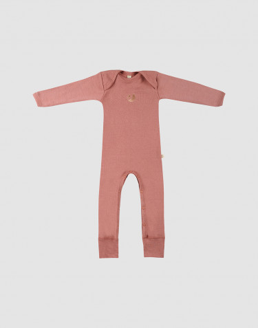 Baby full-length merino wool bodysuit- Pink