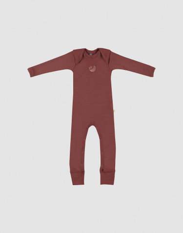 Baby full-length merino wool bodysuit- rouge