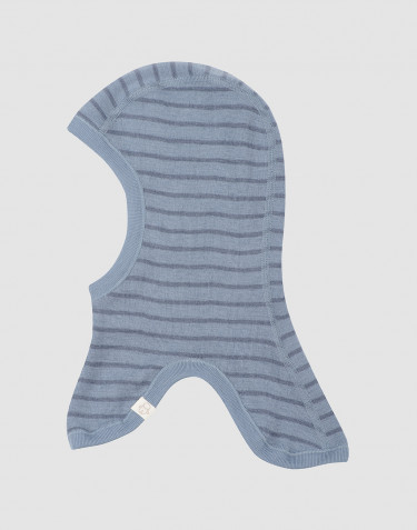 Baby merino wool balaclava hat- Blue Stripe