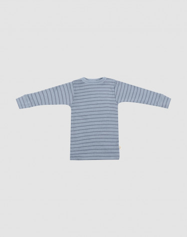 Baby merino wool long sleeve top- Blue Stripe