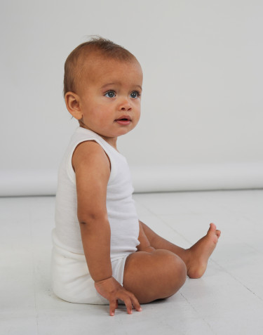 Baby sleeveless merino wool bodysuit- nature
