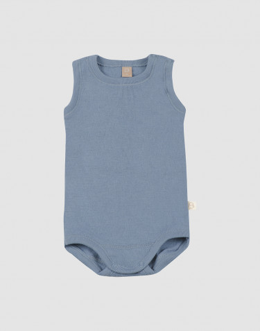 Baby merino wool sleeveless bodysuit- Blue