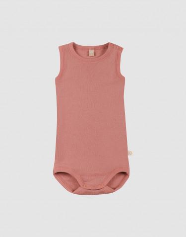 Baby merino wool sleeveless bodysuit- Pink