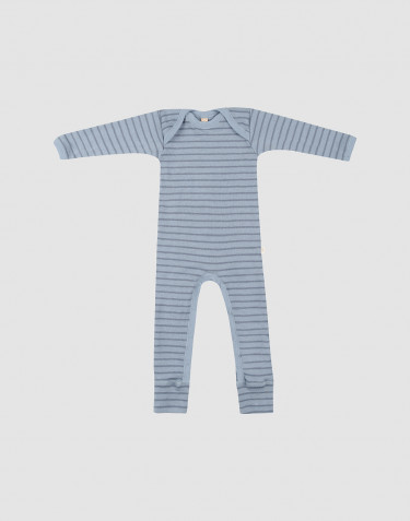 Baby merino wool bodysuit- Blue Stripe