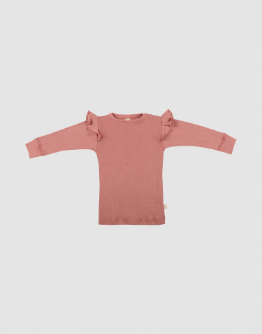 Baby merino wool ruffled long sleeve top- Pink