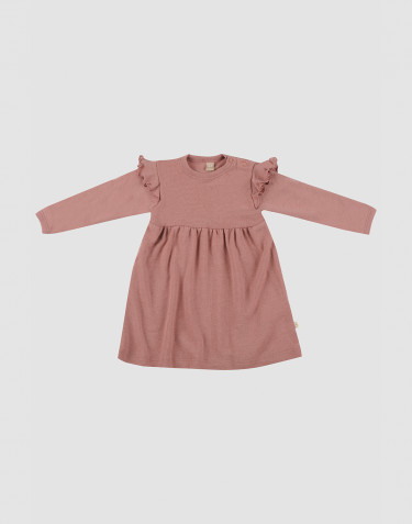Baby wool ruffled dress- Pink