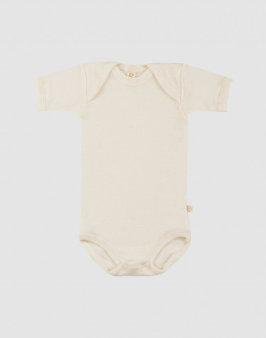 Baby organic merino wool short sleeve bodysuit- nature