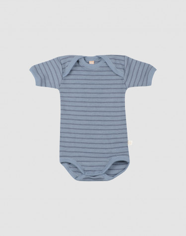 Baby short sleeve wool bodysuit- Blue Stripe