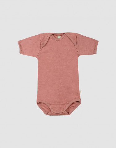 Baby short sleeve merino wool bodysuit- Pink