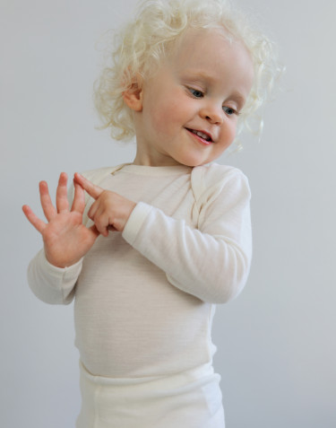 Baby organic merino wool long sleeve bodysuit- nature