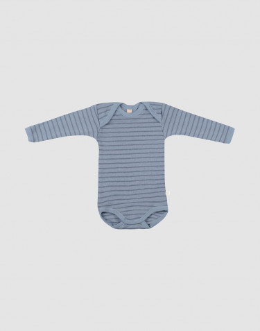 Baby merino wool long sleeve bodysuit- Blue Stripe