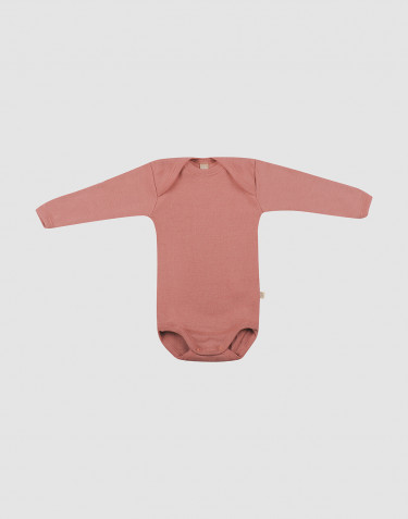 Baby merino wool long sleeve bodysuit- Pink