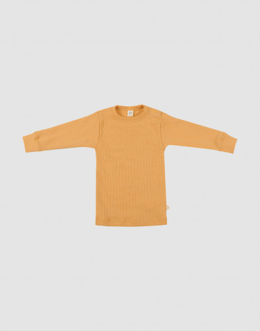 Baby wide ribbed merino wool top- yellow