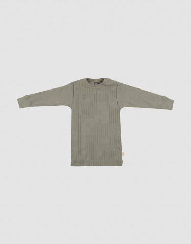 Baby rib knit merino wool top- olive green