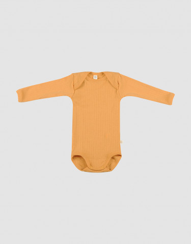 Baby ribbed merino wool bodysuit- yellow
