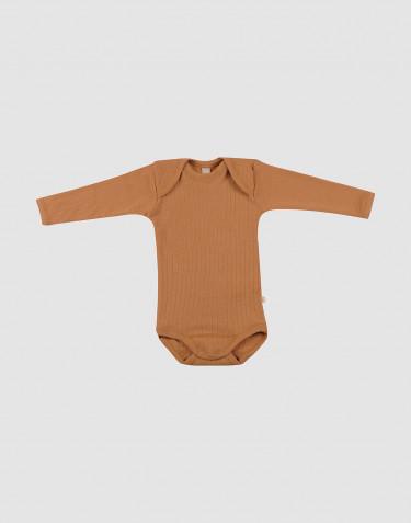Baby rib knit wool bodysuit- Caramel