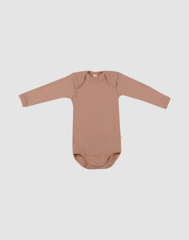 Baby ribbed long sleeve organic merino wool bodysuit- powder