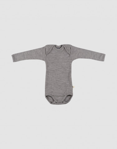 Baby ribbed bodysuit- grey melange