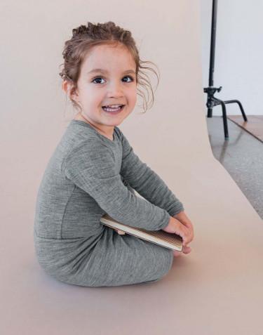 Baby ribbed bodysuit- grey melange