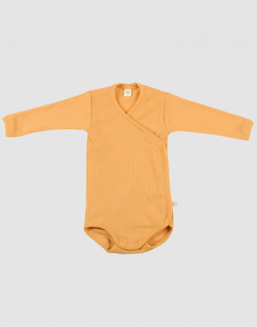 Baby ribbed merino wool wrap bodysuit- yellow