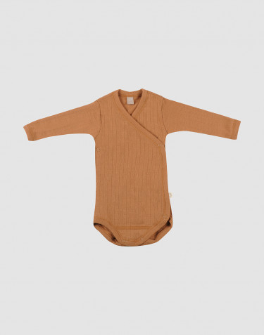 Baby knitted wool wrap bodysuit- Caramel
