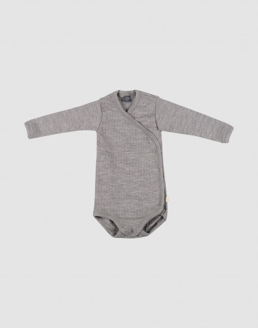Baby ribbed wrap bodysuit- grey melange