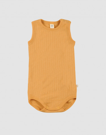 Baby ribbed merino wool sleeveless bodysuit- yellow