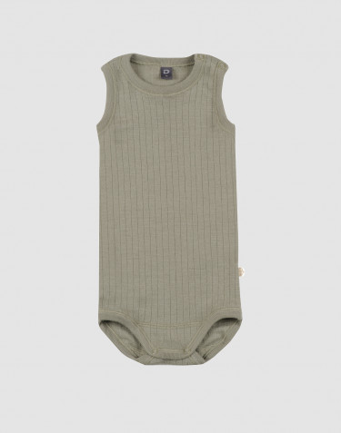 Baby sleeveless rib knit merino wool bodysuit- olive green