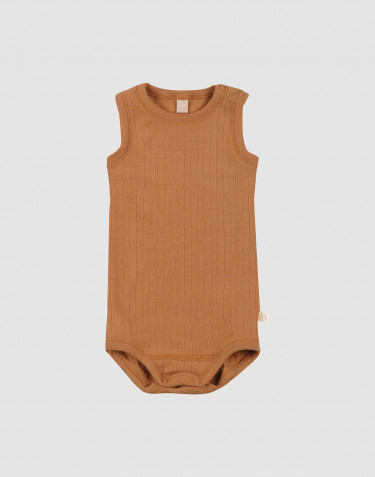 Baby rib knit wool sleeveless bodysuit- Caramel