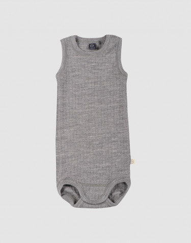 Baby ribbed sleevelss bodysuit- grey melange