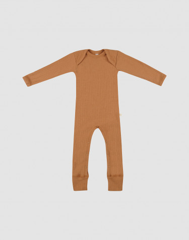 Baby rib merino wool bodysuit-- Caramel