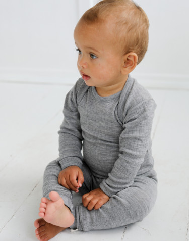 Baby ribbed merino wool sleepsuit- grey melange