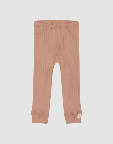 Baby ribbed merino wool leggings- powder