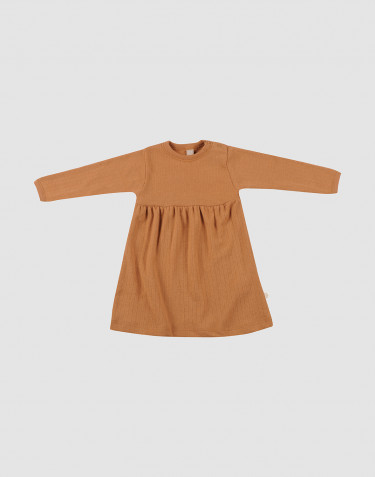 Baby ribbed wool dress- Caramel