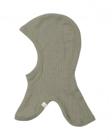 Baby rib knit merino wool balaclavas hat- olive green