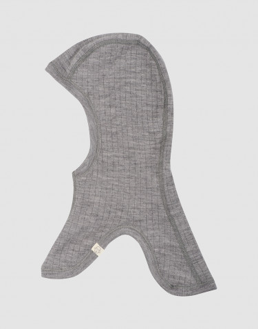 Children's rib-knitted balaclava- grey melange