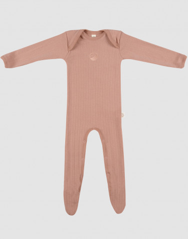 Baby merino wool bodysuit with enclosed feet- powder