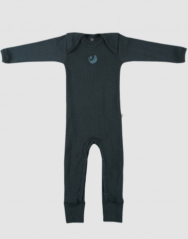 Baby merino wool full-length bodysuit- dark petrol blue