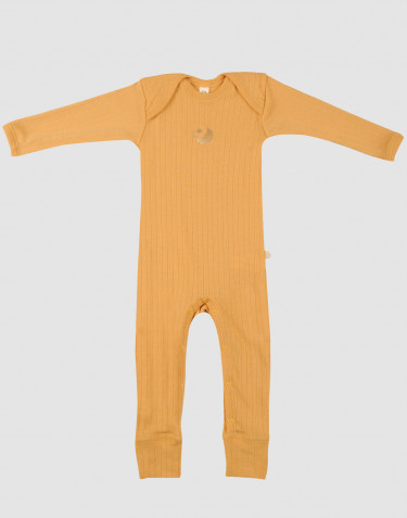 Baby ribbed merino wool full-length bodysuit- yellow