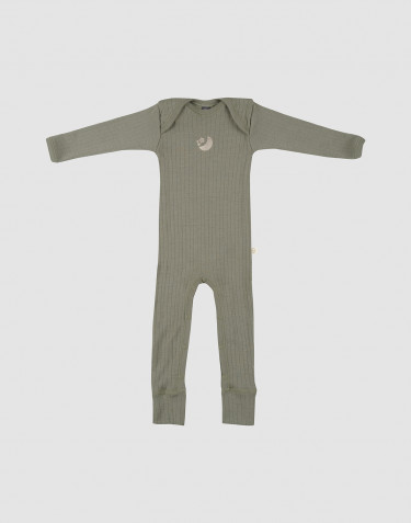 Baby rib knit merino wool bodysuit- olive green