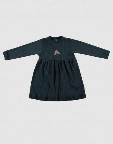 Baby ribbed merino wool dress- dark petrol blue