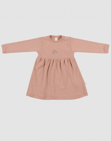 Baby ribbed merino wool dress- powder
