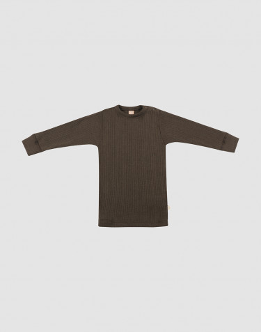 Baby wide rib merino long sleeve top- Dark Chocolate