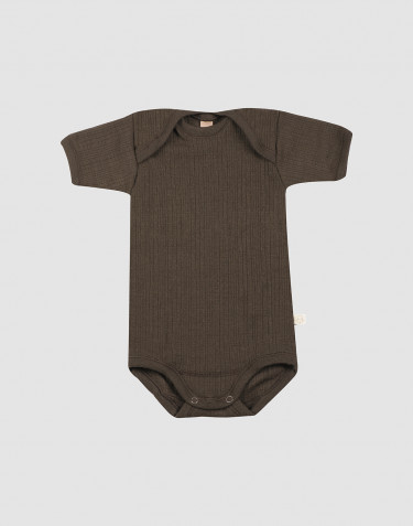 Baby rib wool short sleeve bodysuit- Dark Chocolate